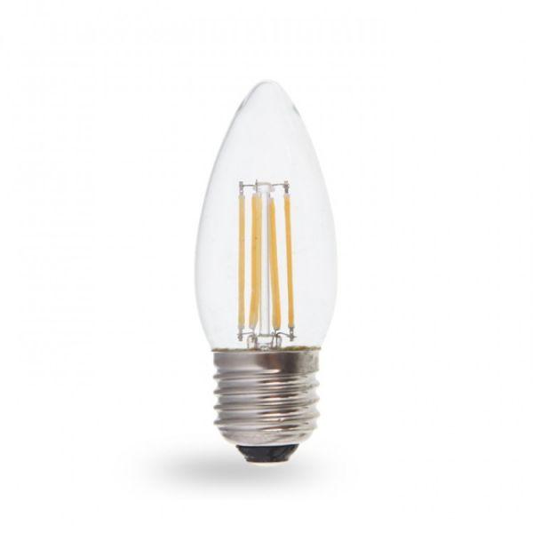 Лампа светодиодная диммер свеча 4W E27 4000K filament Feron LB-68 C37