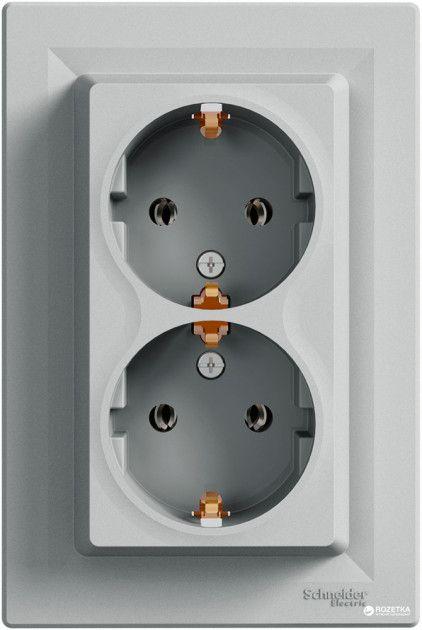 Розетка двойная с заземлением Алюминий Asfora Plus Schneider Electric EPH9900161