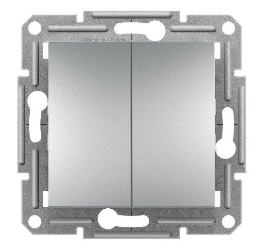 Выключатель двухклавишний кнопочный алюминий Asfora Schneider Electric EPH1100161