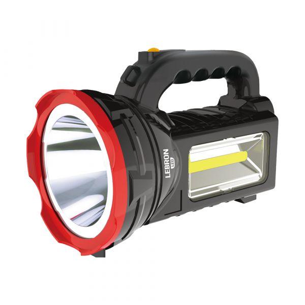 LED фонарь ручной аккумуляторный Lebron L-HL-78 2-4W + 3W COB 3000mAh черный
