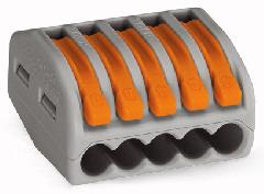 222-415 Клемма 5 конт. WAGO 0,08-2,5-4мм2, с нажимными рычаг. 32А