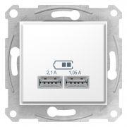 Двойная USB розетка 2,1A белая Sedna Schneider Electric SDN2710221