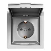 Розетка с заземл., шторк. и крышкой IP44 Алюминий Asfora Schneider Electric EPH3100361
