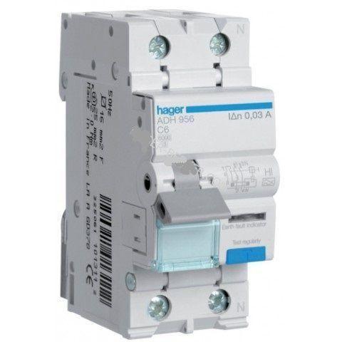 Дифференциальный автомат 1п + N, 20А, 30mA, С, 4,5kA, АC Hager AD870J