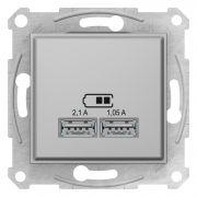 Двойная USB розетка 2,1A алюминий Sedna Schneider Electric SDN2710260