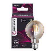 Лампа свiтлодiодна 8W E27 2500K янтарна Velmax V-Filament-G95