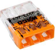 2273-243 Клемма WAGO COMPACT для распр. коробок 3X2,5, прозрачная / оранж. с пастой