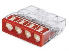 2273-244 Клемма WAGO COMPACT для распр коробок 4X2,5, прозрачная / красная с пастой