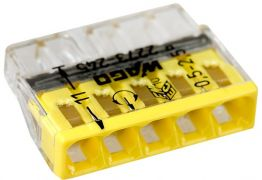 2273-245 Клемма WAGO COMPACT для распр. коробок 5X2,5, прозрачная / желтая с пастой