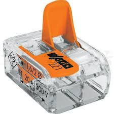 221-412 Клемма WAGO 2-конт д/распред коробок, подключ. люстр, светильн, 0,2-4 мм2, прозрачная
