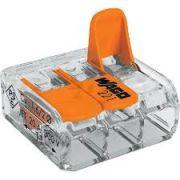 221-413 Клемма WAGO 3-конт д/распред коробок, подключ. люстр, светильн, 0,2-4 мм2, прозрачная