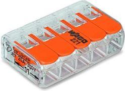 221-415 Клема WAGO 5-конт д/розпод коробок, підключ. люстр, світильн, 0,2-4 мм2, прозора