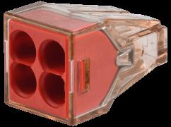 773-604 Клемма WAGO для распр. коробок на 4 моножил. провода (1.5-4) прозрачная красная