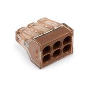 773-606 Клемма WAGO для распр. коробок на 6 моножил. провода (1.5-4) прозрачная коричневая