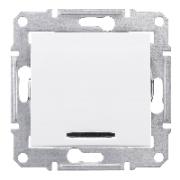 Вимикач одноклавішний кнопочний з підсвіткою білий Sedna Schneider Electric SDN1600121