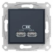 Двойная USB розетка 2,1A графит Sedna Schneider Electric SDN2710270