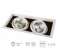 Карданний LED світильник Feron AL212 2xCOB 30W 5200Lm 4000K біла рамка 29780