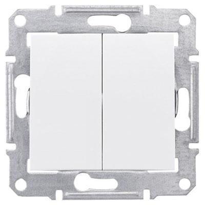 Выключатель двухклавишный белый Sedna Schneider Electric SDN0300121