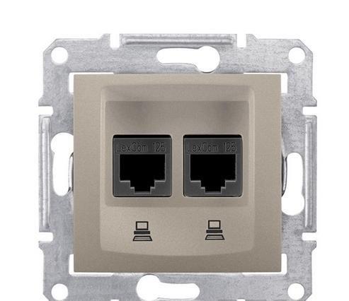Розетка компьютерная RJ45, кат.5е, UTP двойная, титан Sedna Schneider Electric SDN4400168