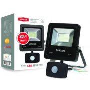 Прожектор LED FLOOD LIGHT MAXUS 20W с датчиком движения 5000K (1-MAX-01-LFL-2050s)
