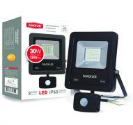 Прожектор LED FLOOD LIGHT MAXUS 30W с датчиком движения 5000K (1-MAX-01-LFL-3050s)