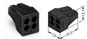 773-514 Соединитель с зажимом для распред. коробок 4-проводная Клемма WAGO. Длительная работа при температуре 150 ° C