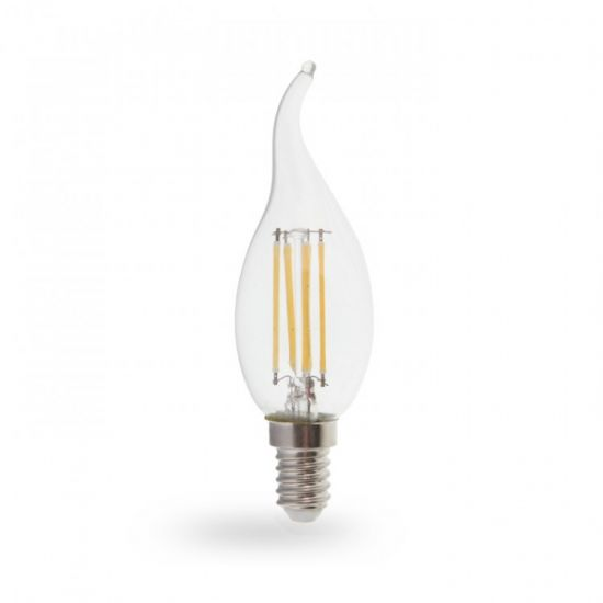 Лампа светодиодная свеча на ветру 7W E14 4000K filament Feron LB-160 Cf37