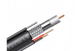 Коаксіальний телевізійний кабель з живленням з тросом біметал F690BVM-2x0,75 power чорний 305м FinMark