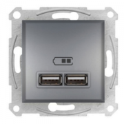 Розетка USB 2.0 port 5V DC max 2.1A сталь Asfora Schneider Electric EPH2700262