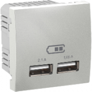 MGU3.418.30 Розетка USB-выход 2мод., алюминий Unica Schneider Electric