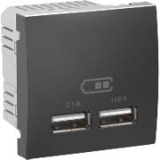 MGU3.418.12 Розетка USB-вихід 2мод., графіт Unica Schneider Electric