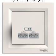 Розетка USB 2.0 port 5V DC max 2.1A кремова Asfora Schneider Electric EPH2700223