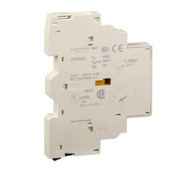 Дополнительный контакт НО+НО левая сторона Schneider Electric GVAN20