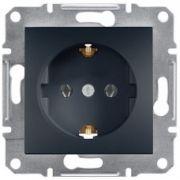 Розетка с заземлением Антрацит Asfora Schneider Electric EPH2900171