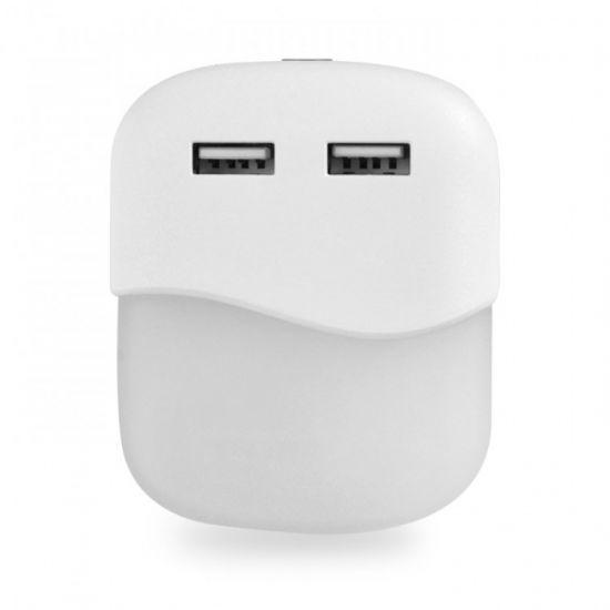 Нічник світлодіодний білий з датчиком освітленості та USB портами Feron FN1123