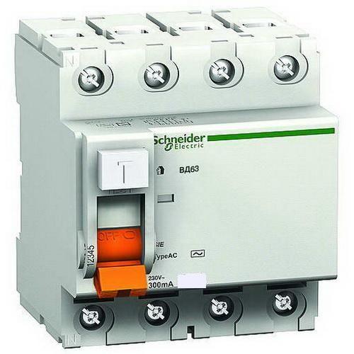 Дифференциальный выключатель УЗО Schneider Electric ВД63 4п 63A 30mA 11466