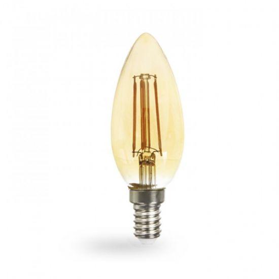 Лампа светодиодная свеча золото 4W E14 2200K filament Feron LB-58 C37