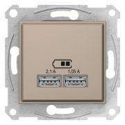 Двойная USB розетка 2,1A титан Sedna Schneider Electric SDN2710268