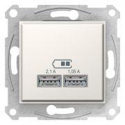 Двойная USB розетка 2,1A слоновая кость Sedna Schneider Electric SDN2710223