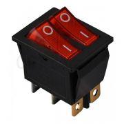 Переключатель клавишный Lemanso LSW04 двойной красный с подсветкой KCD2-2101N