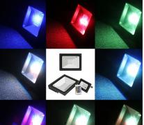 Світлодіодний прожектор чорний 30Вт RGB IP65 + пульт Lemanso LMP76-30