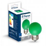 Лампа светодиодная 1W E27 зеленая Feron LB-37 G45
