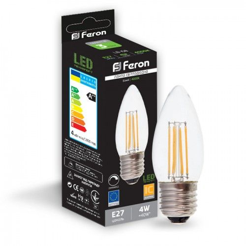 Лампа светодиодная диммер свеча 4W E27 2700K filament Feron LB-68 C37