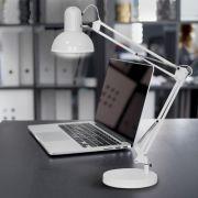 Настільний світильник під лампу Е27 на струбцині білий Feron DE1430