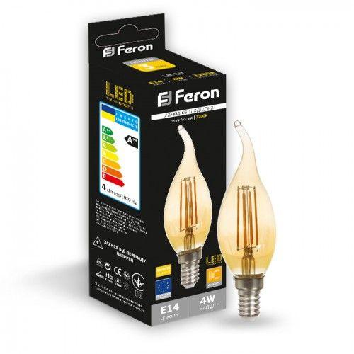 Лампа светодиодная свеча на ветру золото 4W E14 2200K filament Feron LB-59 Cf37