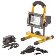 Прожектор светодиодный 20w 6500K IP65 + аккумулятор + подставка желтый Lemanso