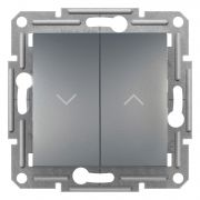 Вимикач для жалюзі самозажимний сталь Asfora Plus Schneider Electric EPH1300162