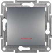 Выключатель одноклавишный с подсветкой Asfora Plus Сталь Schneider Electric EPH1400162