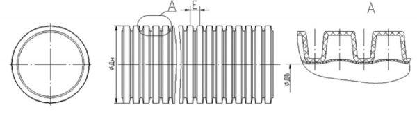 121963A Гофрированная труба DKC двустенная черная d63 / 51,5 мм (50м)