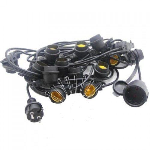 Гирлянда под лампочку 15хЕ27 черная 10 метров + вилка Lemanso LMA502